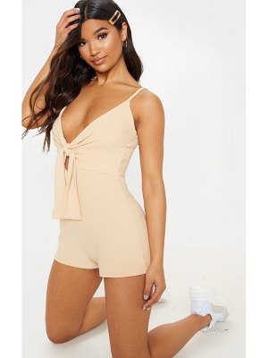 PrettyLittleThing knot detail plunge strappy romper