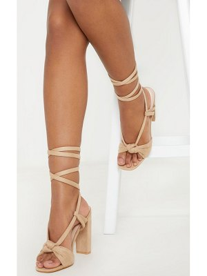 PrettyLittleThing knot lace up block heel sandal