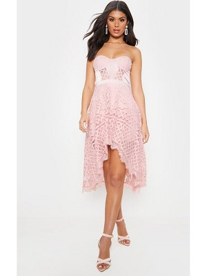 PrettyLittleThing lace bandeau dipped hem midi dress