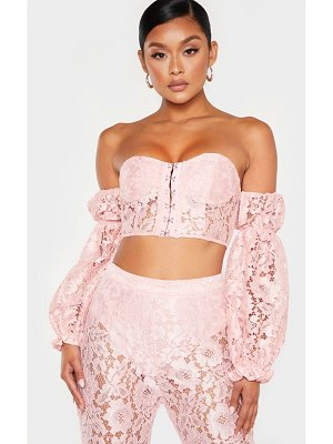 PrettyLittleThing lace bardot hook and eye crop top