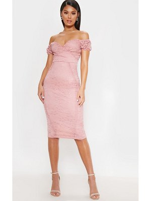 PrettyLittleThing lace bardot wrap midi dress