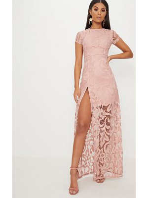 PrettyLittleThing lace cap sleeve extreme split maxi dress