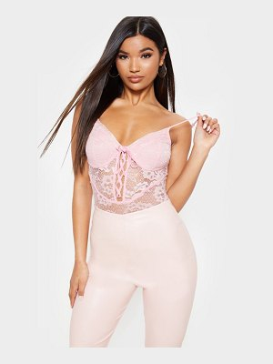 PrettyLittleThing lace cup lace up bodysuit