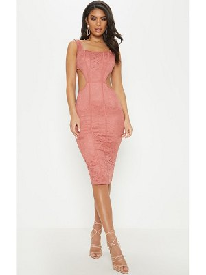 PrettyLittleThing lace cut out side square neck midi dress