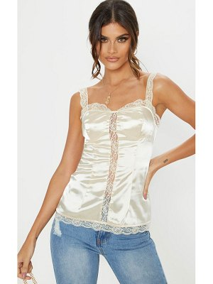 PrettyLittleThing lace detail satin cami top