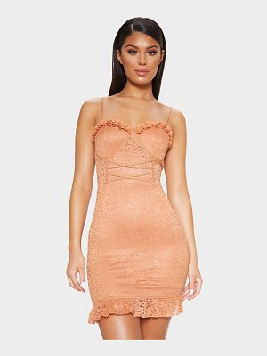 PrettyLittleThing lace frill hem bodycon dress