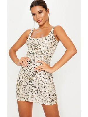 PrettyLittleThing lace glitter floral square neck bodycon dress