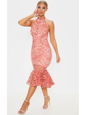 PrettyLittleThing lace high neck flute hem midi dress