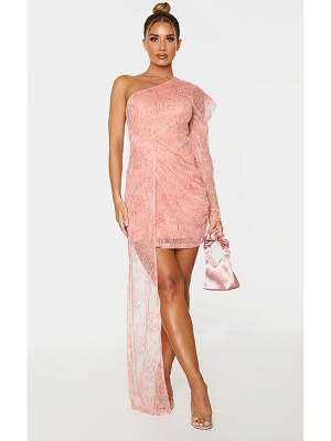 PrettyLittleThing lace one shoulder drape bodycon dress