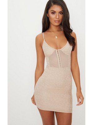 PrettyLittleThing lace panelled hook and eye detail bodycon dress