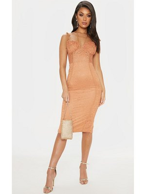 PrettyLittleThing lace ruched top midi dress