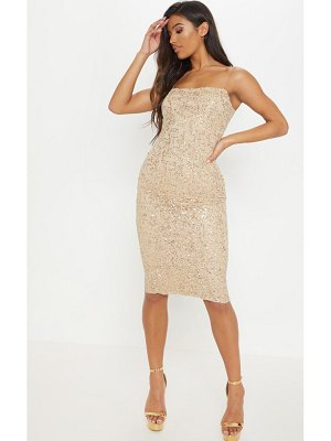 PrettyLittleThing lace sequin square neck midi dress