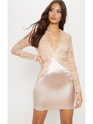 PrettyLittleThing lace top satin bodycon dress