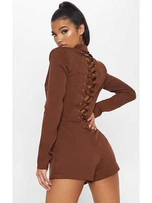 PrettyLittleThing lace up back blazer romper