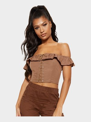 PrettyLittleThing lace up bardot frill crop top