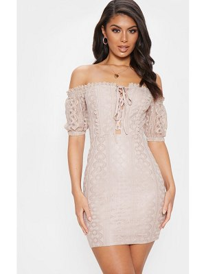 PrettyLittleThing lace up bardot lace bodycon dress