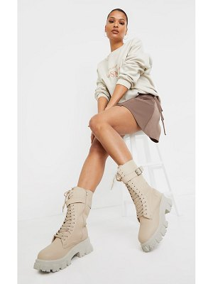 PrettyLittleThing lace up buckle trim cleated sole calf boots