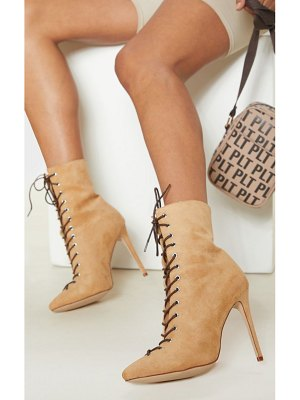 PrettyLittleThing lace up high point ankle boot