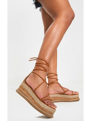 PrettyLittleThing lace up strappy flatform sandal
