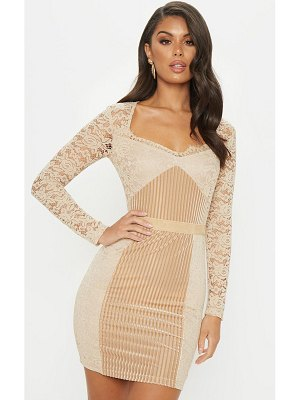 PrettyLittleThing lace velvet insert bodycon dress