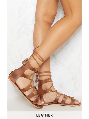 PrettyLittleThing leather ghillie sandal