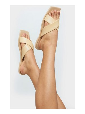 PrettyLittleThing leather square toe cross strap mule flat sandals