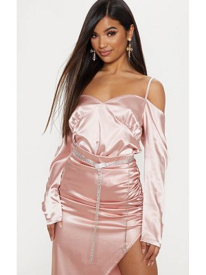 PrettyLittleThing light pink cold shoulder satin shirt