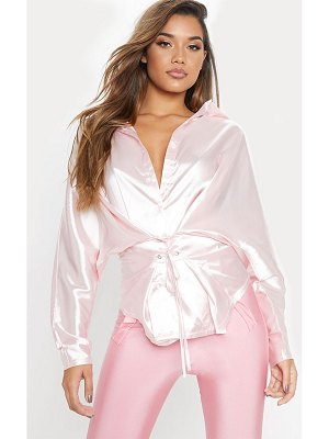 PrettyLittleThing light pink corset detail satin shirt