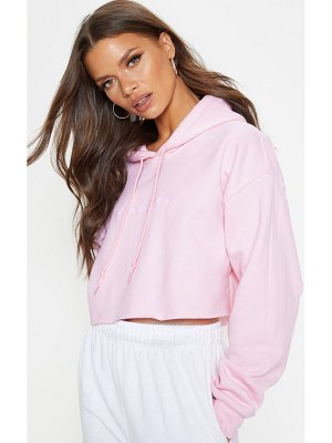 PrettyLittleThing prettylittlethinglight pink embroidered crop hoodie