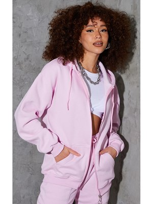 PrettyLittleThing light pink extreme oversized pocket front zip through hoodie