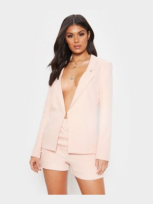 PrettyLittleThing light pink high waisted belted shorts