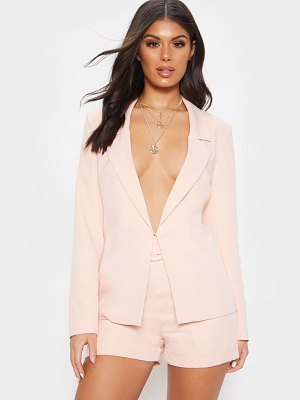 PrettyLittleThing light pink lapel hook and eye woven blazer