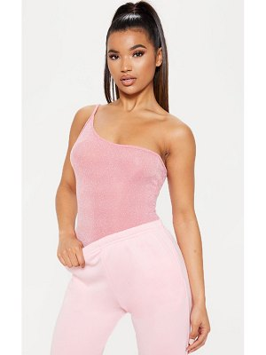 PrettyLittleThing light pink textured glitter strappy one shoulder bodysuit