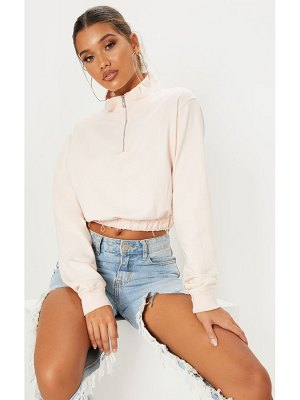 PrettyLittleThing light pink zip up sweater