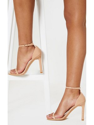 PrettyLittleThing light nude thin strap square toe strappy sandal