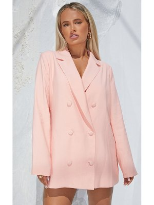 PrettyLittleThing light woven triple breasted oversized blazer