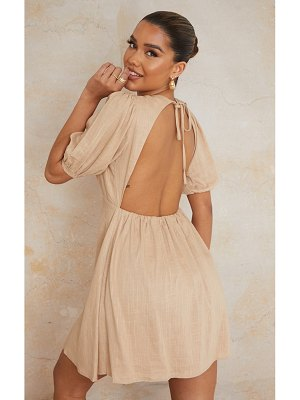 PrettyLittleThing linen look tie backless detail puff sleeve shift dress