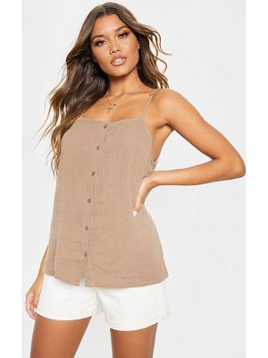 PrettyLittleThing linen mix button front oversized cami top
