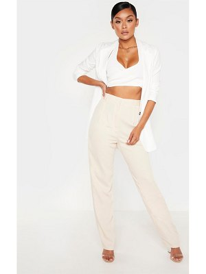 PrettyLittleThing linen mix button front straight leg pants