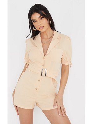 PrettyLittleThing linen look puff sleeve belted romper