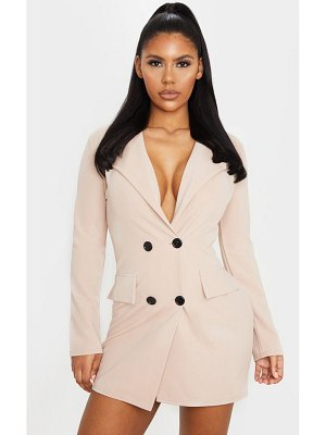 PrettyLittleThing long sleeve contrast button plunge blazer dress