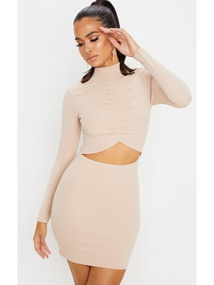 PrettyLittleThing long sleeve high neck ruched cut out bodycon dress