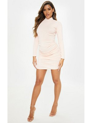 PrettyLittleThing long sleeve high neck ruched side bodycon dress