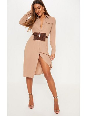 PrettyLittleThing long sleeve midi shirt dress