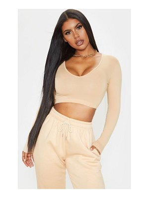 PrettyLittleThing long sleeve plunge crop top