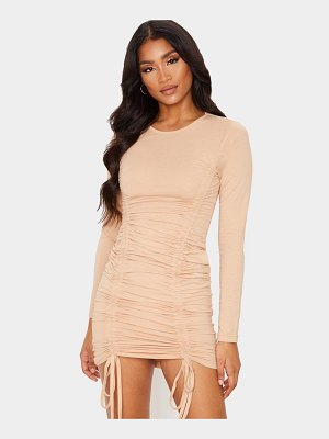 PrettyLittleThing long sleeve ruched front bodycon dress