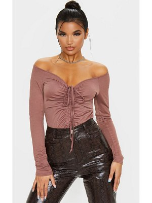 PrettyLittleThing long sleeve ruched front bodysuit