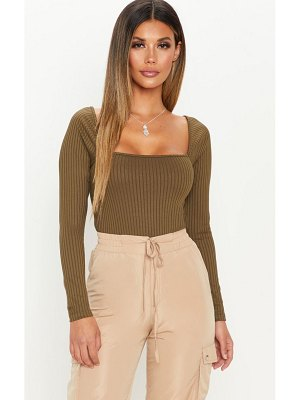 PrettyLittleThing long sleeve square neck rib top