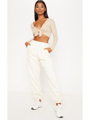 PrettyLittleThing long sleeve tie front crop top