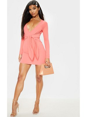 PrettyLittleThing long sleeve tie waist bodycon dress